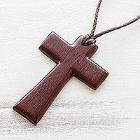 Reclaimed wood pendant necklace, 'Cross of Love' - Carved Wood Cross Necklace