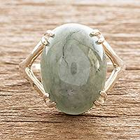 Jade cocktail ring, 'Delicate Green' - Sterling and Jade Cabochon Ring