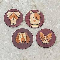 Wood magnets, 'Happy Hounds' (set of 4) - Artisan Crafted Dog Themed Magnets
