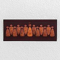 Wood wall art, 'The Last Supper Together' (24 inches) - 24-Inch Brown Wood and  Gourd Plaque of the Last Supper