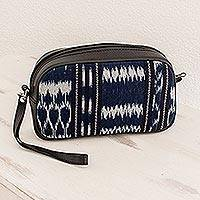 Leather and cotton wristlet, 'Pattern Play in Blue and Black' - Jaspe Weave Cotton and Leather Wristlet