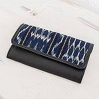 Leather and cotton wallet, 'Pattern Play in Blue and Black' - Jaspe Cotton and Leather Wallet