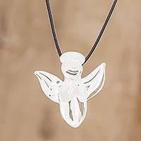 Art glass pendant necklace, 'Bright Angel' - Handmade Art Glass Angel Necklace