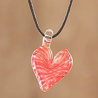 Art glass pendant necklace, 'Heart of Glass' - Swirled Glass Heart Pendant Necklace