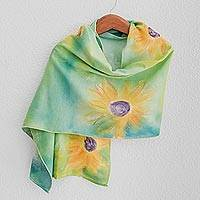 Cotton shawl, 'Midsummer Sun' - Hand-painted Floral Cotton Shawl from Costa Rica
