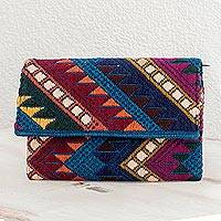 Cotton clutch handbag, 'Mountain Range in Shadow' - Handwoven Brown-Blue-Purple Cotton Clutch Handbag