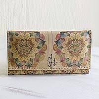 Printed leather wallet, 'Mandala Mystery' - Multicolored Printed Leather Wallet