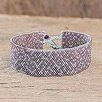 Beaded wristband bracelet, 'Dusty Lilac Road' - Lilac and Grey Beaded Bracelet