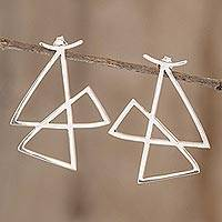 Sterling silver drop earrings, 'Root' - Artisan Crafted Geometric Earrings