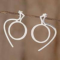 Sterling silver drop earrings, 'Apple' - Abstract Apple Sterling Silver Earrings