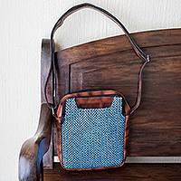 Leathe-accented cotton crossbody bag, 'Jaspe' - Cotton Jaspe Weave and Leather Crossbody Bag from Guatemala