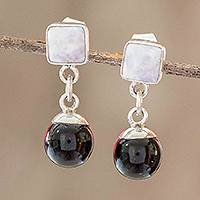 Jade dangle earrings, 'Precious Power' - Two-Color Jade Dangle Earrings