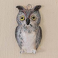 Ceramic owl wall plaque, 'Grey Owl' - Ceramic Grey Owl Wall Plaque for Patio from Guatemala