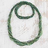 Glass beaded torsade necklace, 'Sirena' - Green Glass Beaded Long Rope Necklace from Guatemala