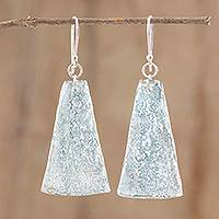 Recycled CD dangle earrings, 'Silver Light' - Recycled CD Dangle Earrings in Grey from Guatemala
