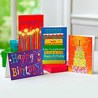 Greeting cards, 'Birthday Celebrations' (set of 12) - Happy Birthday UNICEF Blank Greeting Cards (Set of 12)