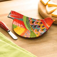 UNICEF Ceramic Plate & Spreader, 'Multicolor Bird' - Ceramic Bird Shaped Plate with Stainless Steel Spreader