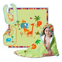 UNICEF Cotton Blanket and Bibs, 'Safari' (set of 3) - 3-piece Cotton Blanket and Bibs Safari Theme