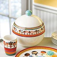 Ceramic cookie jar, 'Circle of Friends' - Children Holding Hands UNICEF Ceramic Cookie Jar
