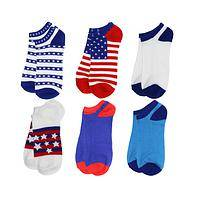 American Pride Dancing Feet - Bright Flag and Patriotic Themed Low-Cut Socks (6 Pairs)