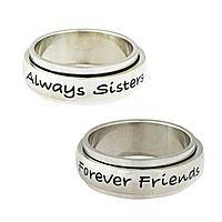 Loving Sorority - Sisters and Friends Engraved Steel Spinning Band Ring