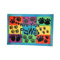 Checkerboard Paws - Colorful Rubber Indoor/Outdoor Paw Mildew-Resistant Mat