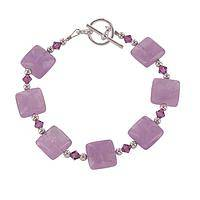 Circle the Squares - Elegant Amethyst Cabochon and Faceted Crystal Bracelet