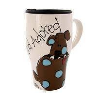 Love from the Shelter - Adopted and Adored Hand-Painted Ceramic Dog Travel Mug