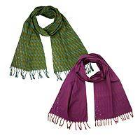 Wrapped in Color - Handmade Ikat Woven Cotton Multi-Color Scarf
