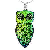 Luminous Spirit - Artisan Dichroic Glass and Silver Owl Pendant