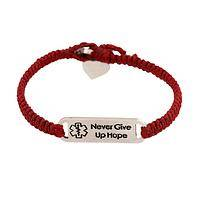 Never Give Up Hope  - Guatemalan Hand Woven Medic-Alert Diabetes Bracelet