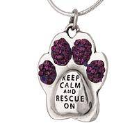 Calm Paw - Sterling Silver Purple Paw Print Animal Rescue Necklace