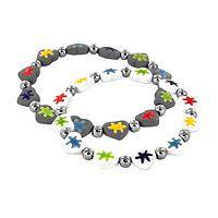 Miraculous Puzzle - Hand-Painted Ceramic Autism Awareness Puzzle Pieces Bracelet