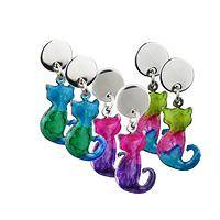 Chamaeleon Kitties - Handcrafted Stainless Steel and Resin Colombian Cat Earrings