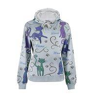 Felines in Vogue - Colorful French Terry Poly/Cotton Artistic Cat Hoodie