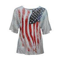 Stylish Patriotism  - American Flag Sequin Top with Peekaboo Slit Sleeves