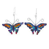 Mosaic Enhancement - Gemstone and Silver-Plated Metal Colorful Butterfly Earrings