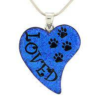 Pattering Paws  - Handcrafted Dichroic Glass and Sterling Paw Print Necklace