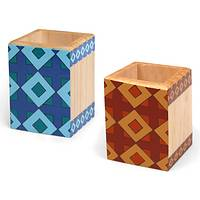 Fantastic Lattice - Fair Trade El Salvadoran Geometric-Patterned Wood Pencil Cup