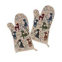 What's for Dinner? - Festival Cats Set of 2 Whimsical Oven Mitts