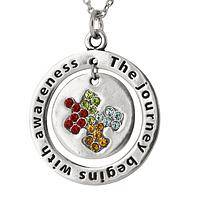 Journey to Awareness  - Metal and Crystal Autism Awareness Pendant Necklace