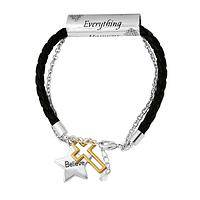 The Power of Faith - Inspirational Scroll and Charm Faux-Leather Braid Bracelet