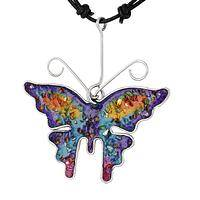 Brilliant Butterfly  - Rainbow Shine Gemstone Array Necklace on Black Cord