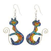 Bejeweled Grace Kitties - Gemstone Chips Colorful Cat Earrings