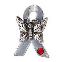 Always On Your Mind - Diabetes Awareness Metal and Enamel Ribbon and Butterfly Pin
