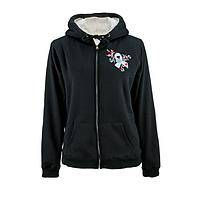 Sugar-Free Solidarity - Black Sherpa-Lined Fleece Hoodie with Diabetes Ribbon Motif