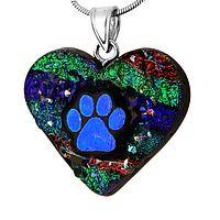 Vivid Love - Dichroic Glass and Sterling Silver Paw Print Heart Necklace