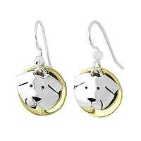 Puppy Print  - Handcrafted Brass and Sterling Silver-Plated Dog Earrings