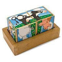 Moo for a Match - Farm Animal Wooden Cube Sound-Making Block Puzzle Toy