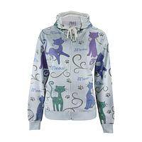 Carnival of Cats - Colorful French Terry Poly/Cotton Cat Hoodie